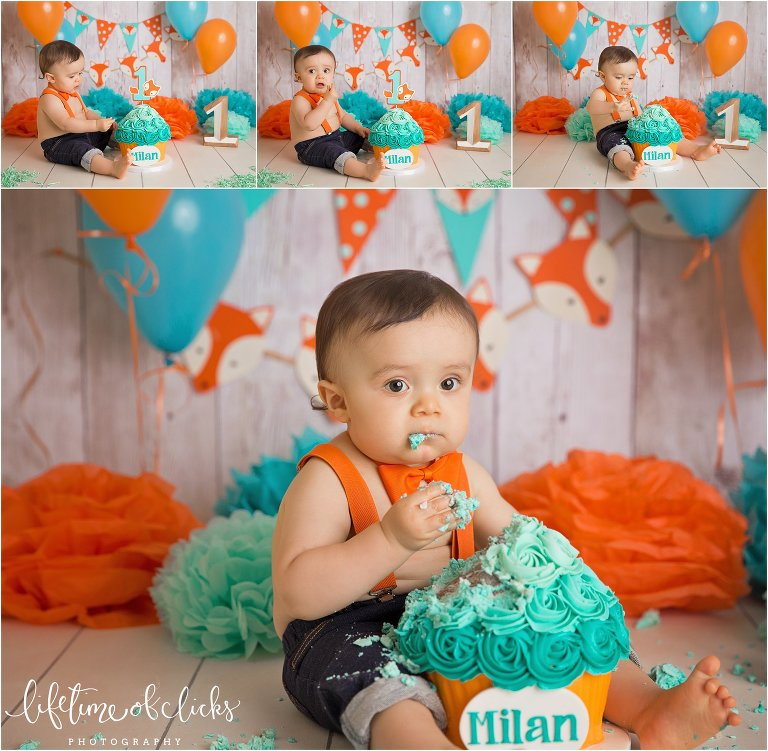 Turquoise and orange cake smash session by Lifetime of Clicks Photography