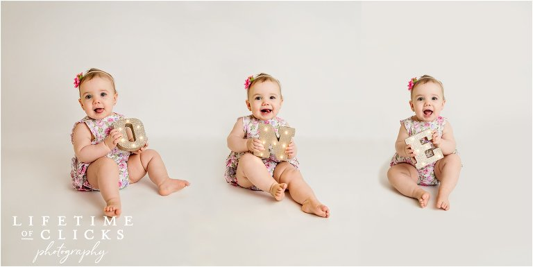 one year old birthday collage idea with triptych
