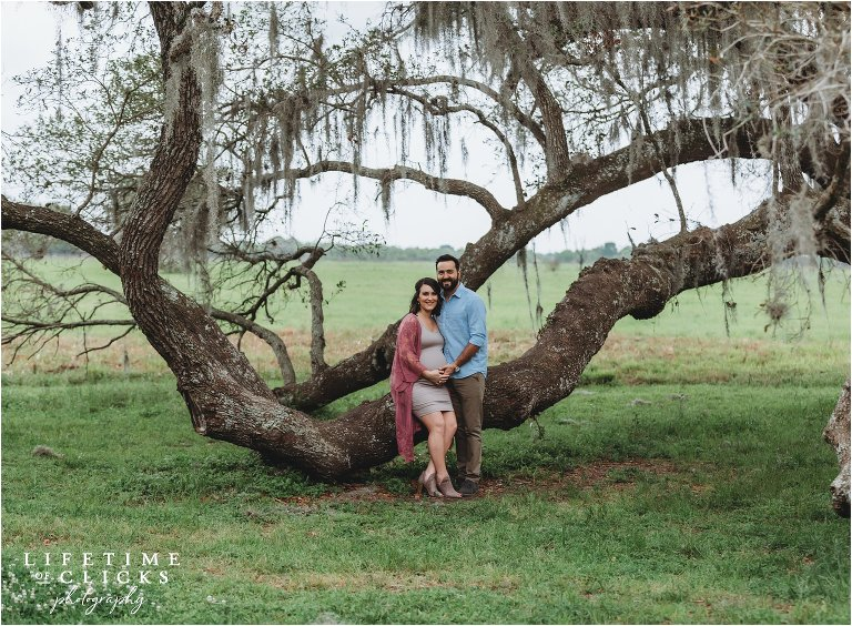 maternity photo in front of a moss covered tree